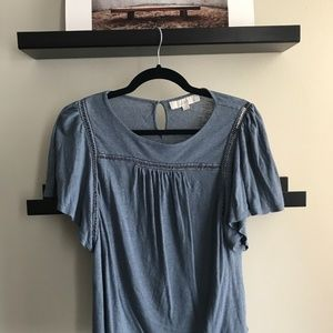 Blue Peasant Top with Detailed Neckline